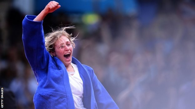 American Kayla Harrison won gold in Olympic judo with Great Britain's Gemma Gibbons receives silver.
