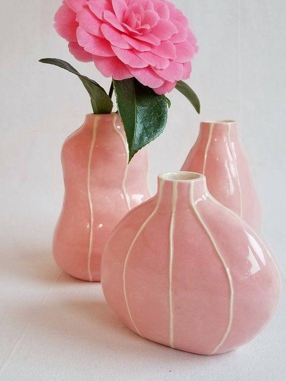 Bud Vase Collection Set Of 3 Ceramic Flower Vases Modern Style Table Decor Handmade Pottery Colo Bud Vases Pottery Vase Vase