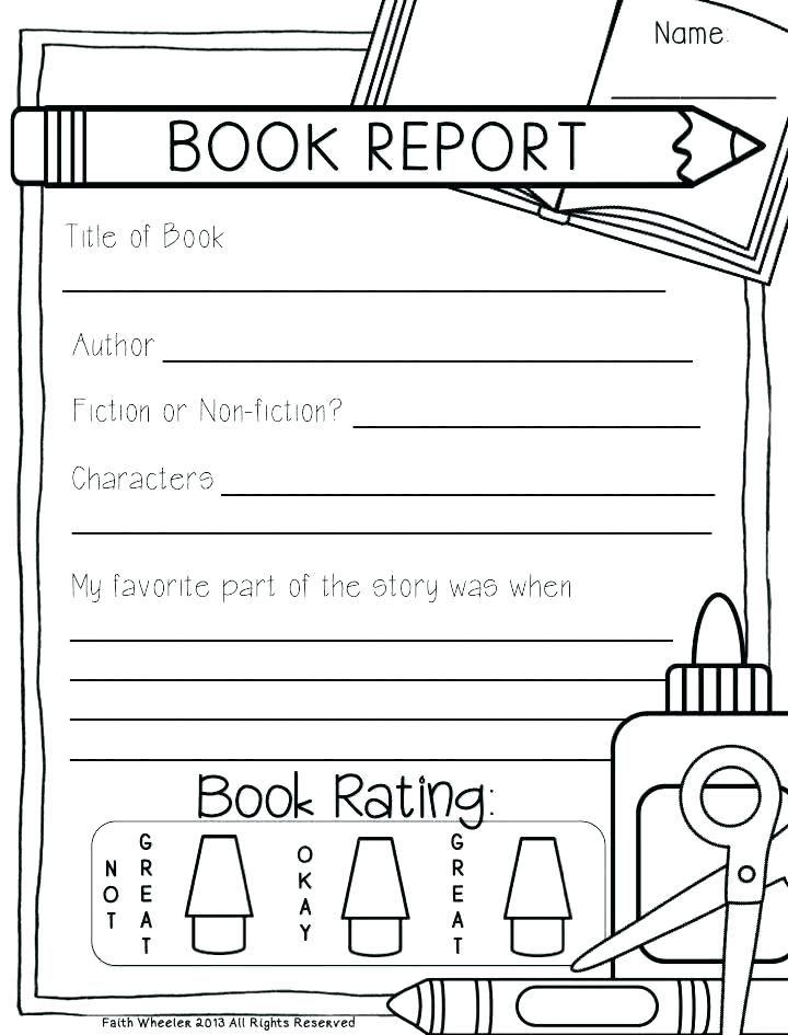Free Book Report Templates Grade Book Report Template Free