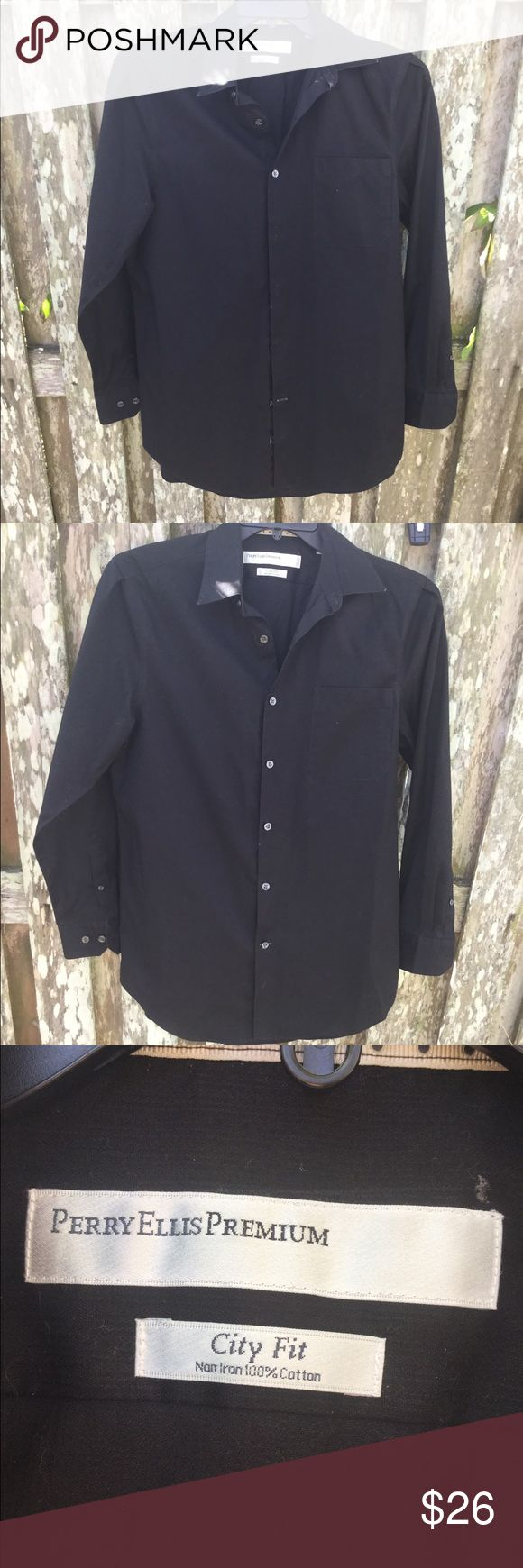 "Men's black suit/tux shirt This small tux shirt is perfect for dressing up, or even casual dress. All the buttons are intact and the collar is still stiff. Only worn twice. Perry Ellis ""Premium"" originally $36 Perry Ellis Shirts Dress Shirts"