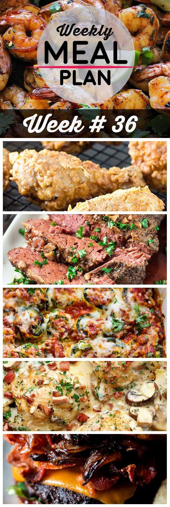 Weekly Meal Plan #36! A meal plan to help you keep things tasty each week, including cilantro lime honey garlic shrimp, southern fried chicken, smoky brisket and more!   HomemadeHooplah.com