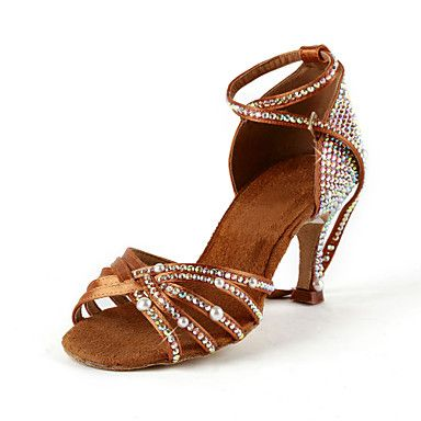 Women's Satin / Rhinestone Upper Ankle Strap Salsa / Latin Dance Shoes With Pearl – USD $ 49.99
