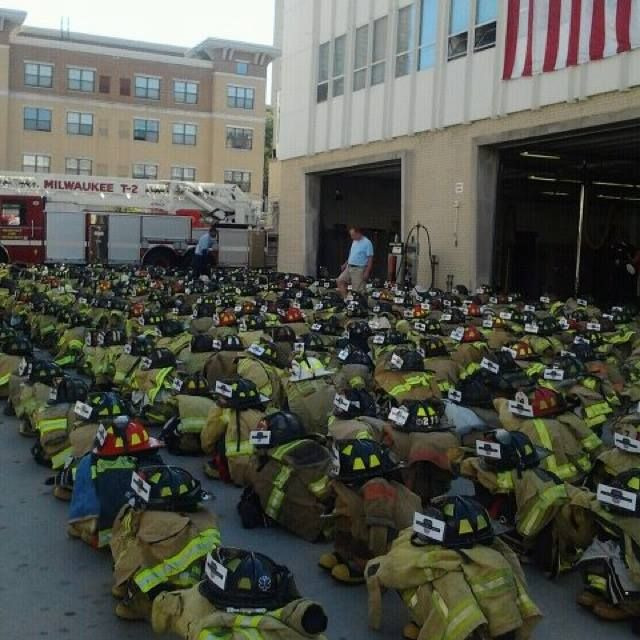 This photo still gives us the chills. A set of turnout gear for each firefighter lost on 9/11. —