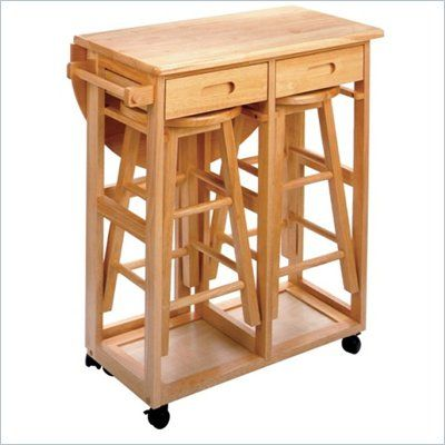 Fold Out Table, Drawers And 2 Bar Stools