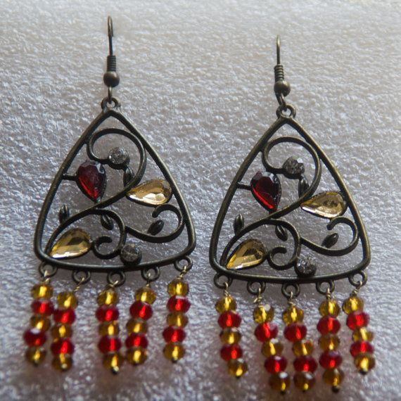 Brass yellow and red bead earrings  Antique look by Shimmeria