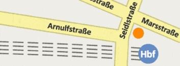Lageplan des notebooksbilliger.de Ladens: Seidlstraße 8, 80335 München    3 Minuten vom Hauptbahnhof München. Verlassen Sie den Hauptbahnhof zur Arnulfstraße und laufen diese bis zur Seidlstraße. Der notebooksbilliger.de Store liegt an der Ecke Seidlstraße und Marsstraße.