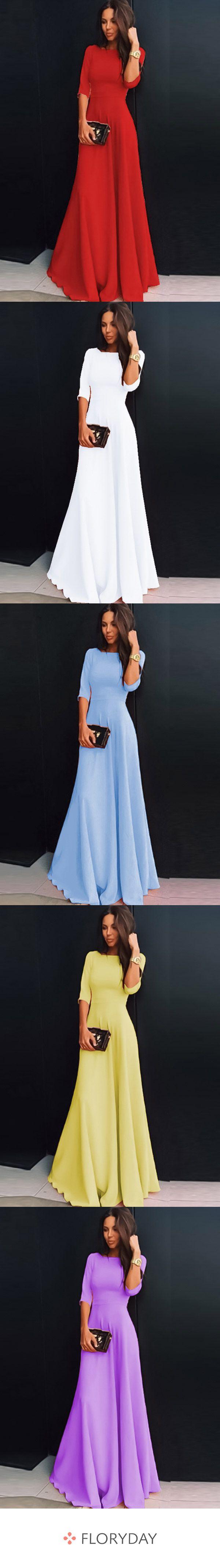 Maxi-Kleid in A-Linie mit 3/4 Ärmeln