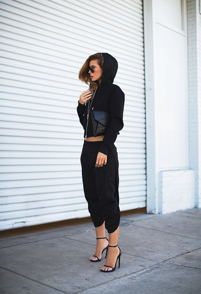 (Hoodie - Givenchy, Sunglasses - Ray-Ban, Clutch - Givenchy,  Pants - MA Julius, Sandals - Saint Laurent)