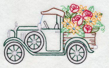 Truck in Bloom (Vintage) design (K7446) from www.Emblibrary.com