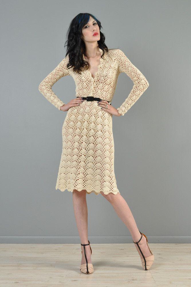 Hand Crocheted 1970s Plunging Neck Midi Dress | BUSTOWN MODERN      ♪ ♪ ... #inspiration_crochet #diy GB http://www.pinterest.com/gigibrazil/boards/