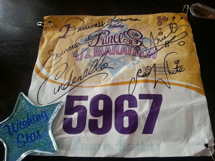 After running a RunDisney event, make sure to get your bib signed by the Princesses! Need to remember this!!
