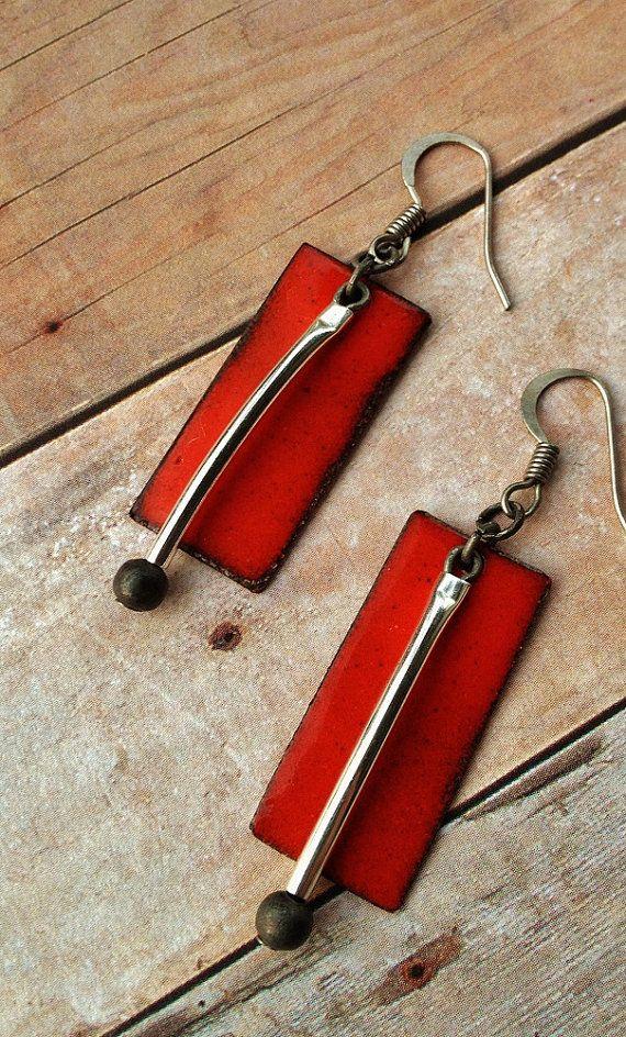 Red Rectangle Enameled Earrings with Silver Dangle by Lammergeier, $24.00
