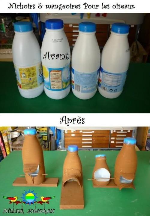 nichoir r cup 39 bouteille de lait diy pinterest. Black Bedroom Furniture Sets. Home Design Ideas