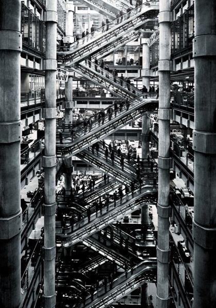 mistermichaeljason: Simon Stock, Lloyd's Building View of the underwriting floors of the Lloyd's Building. (I almost like this better than the photographer's original.) More here.
