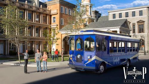 Showing item 1 of 4. Tour trolley inside Universal Studios Hollywood.