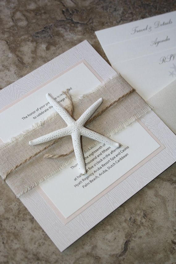 Rustic Linen Blush Pink Starfish Wedding Invitation door idobliss