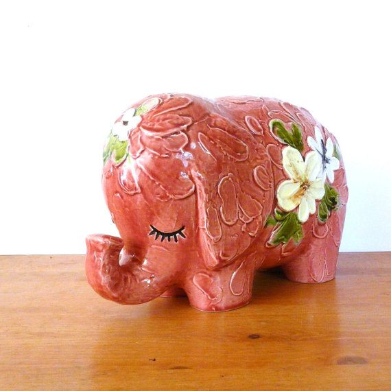 Small Elephant Decor: Vintage Ceramic Elephant Figurine /// Pink, Flowers