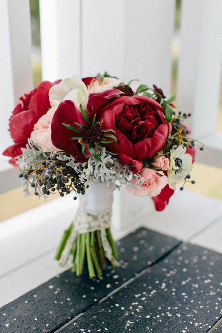 BRIDAL BOUQUET Red Peonies Contrasted Against Pale Pink Roses And White