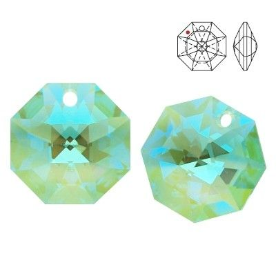 STRASS Swarovski 8115 Octagon 14mm Antique Green Blue AB with 1 hole  Dimensions: 14,0 mm Colour: Antique Green Blue AB 1 package = 1 piece