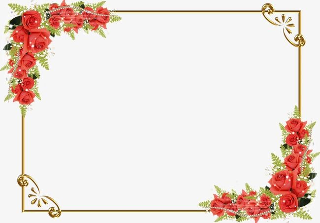 Beautiful Red Rose With Green Leaf Corner Border Design For Eid Card 2016 Red Roses Flower Images Clip Art Borders