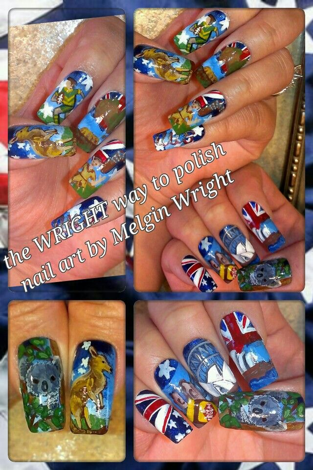 Australia Day nail art! - Hand painted nail art. Painted with Nail polish and acrylic paint by Melgin Wright  http://www.facebook.com/TheWrightWayToPolishNailArtByMelginWright  http://pinterest.com/melginswright/boards/