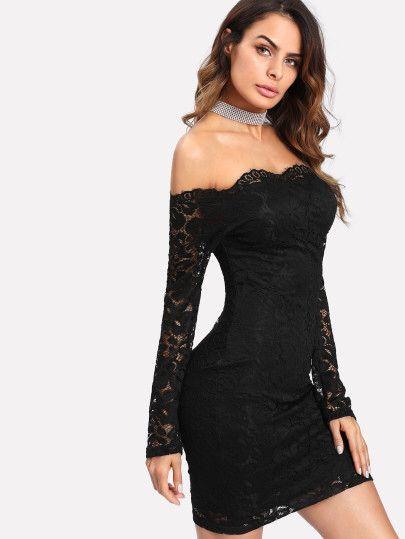 Bardot Bodycon Kleid mit Blumen Spitzen  Only 17.22€