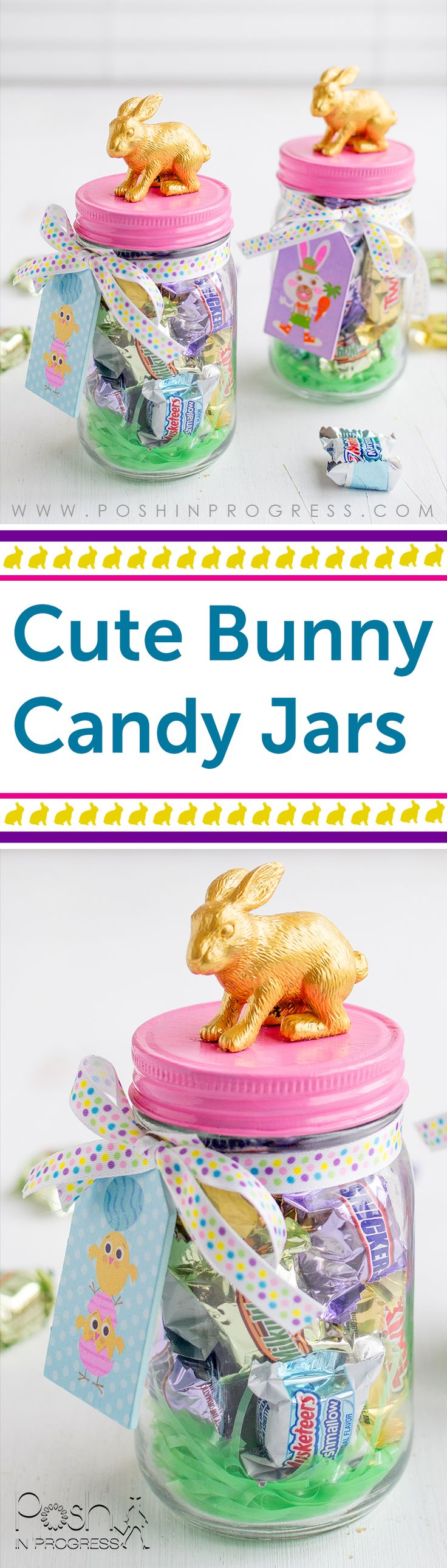 Need adorable but quick DIY Easter decor? You should make this simple bunny candy jar craft. It may be the cutest and easiest DIY Easter project ever! #SpringMoments @SamsClub [ad]