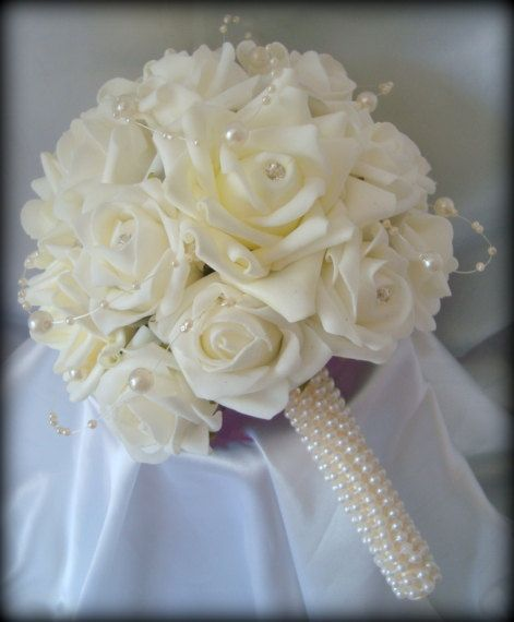 Wedding Flowers Bridesmaids Beautiful elegant posy bouquet of roses with Diamante's and pearls with a pearl entwined handle on Etsy, £35.00