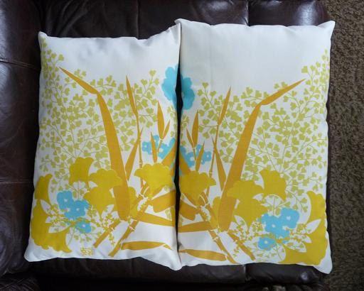 Retro Mustard Turquoise Asian Throw Pillows by MinnesotaJunker