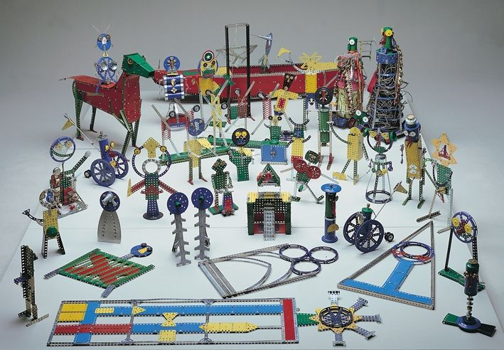 Set design in Meccano for an Ubu King play, by Enrico Baj