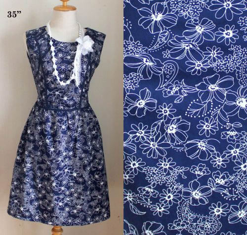 J2142 Vintage babydoll FLORAL FLOWER Hippie fashion 50s 60s Navy Blue DRESS S M