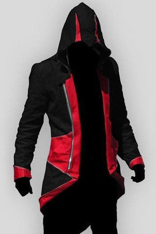 Hooded Color Block Splicing Assassin's Creed Long Sleeve Cosplay Men's Jacket