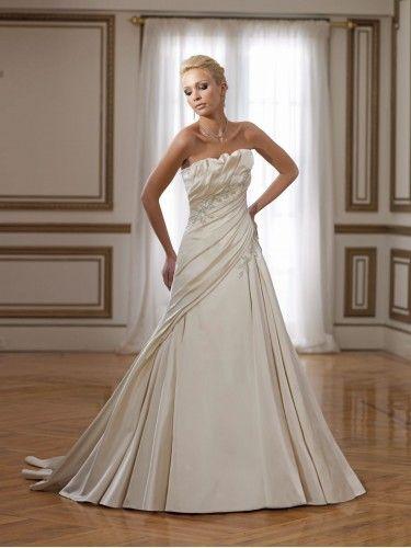 Satin Artistically Sculpted Strapless A-line Wedding Dress