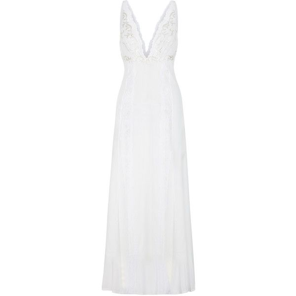 La Perla Secret Story Long Night Dress ($1,910) ❤ liked on Polyvore featuring intimates, sleepwear, nightgowns, long sleep gowns, long nightgowns, long nightdress, white nightie and long white nightgown