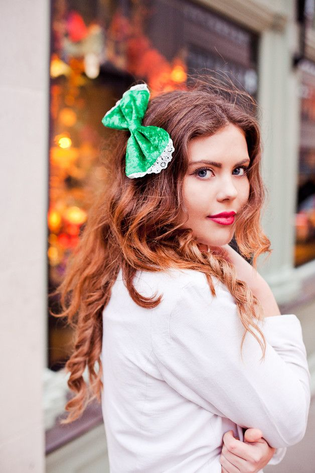 Emerald Green Velvet Hair Bow Clip