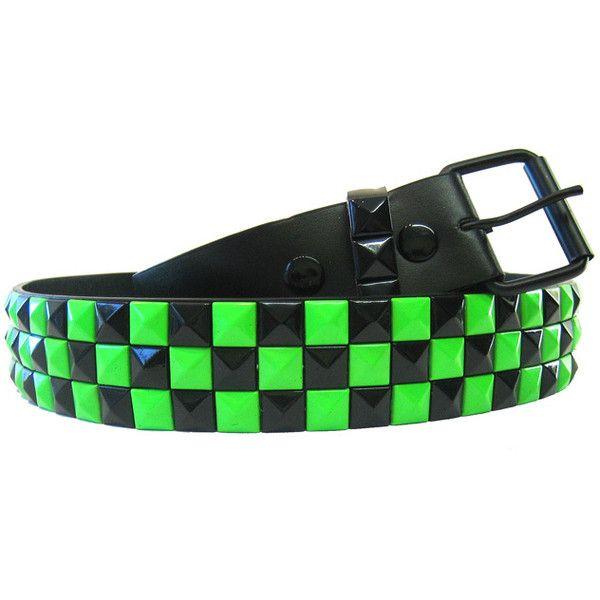 Pyramid Belt Black & Neon Green - Alternative, Gothic, Emo Clothing ($12) ❤ liked on Polyvore