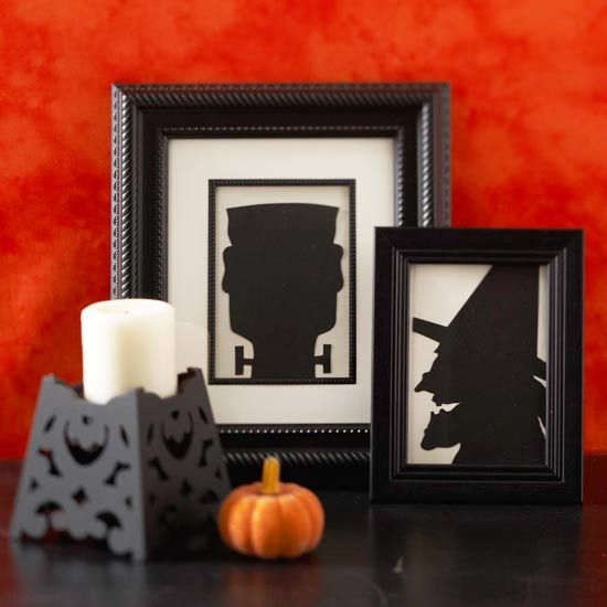 Spooky Silhouettes-download free pattern, enlarge to desired size, trace onto cardboard and cut out. Glue to cardstock and frame.