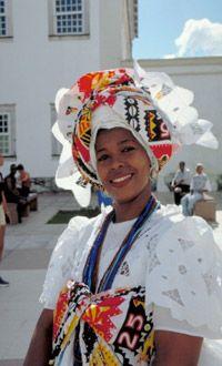 Woman in traditional Brazilian dress