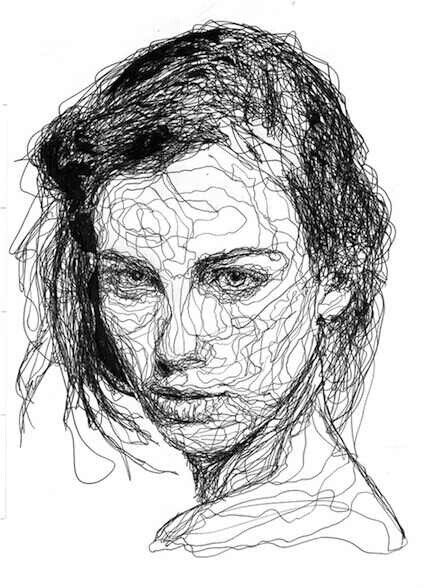 Contour Line Drawing Face : Scribble drawing my style pinterest