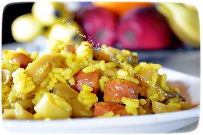 Ρύζι με λουκάνικα και μανιτάρια