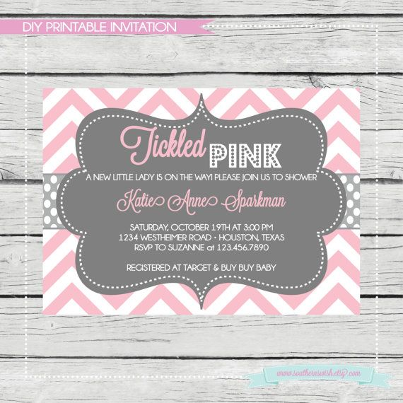 tickled pink baby girl shower invitation diy printable birthday party or baby shower invitation