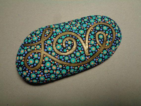 GESCHILDERD+strand+steen+/+kiezel+kunst+/+Dot+geschilderde