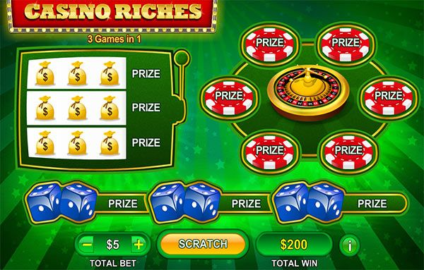 PLAY CRABS, ROULETTE AND A SLOT SCRATCH CARD ALL ON INSTANT GAME CASINO RICHES!  Now here is a great game from Neogames, instant game Casino Riches that you can play right now on Mrmega.com. Instant game Casino Riches gives you 3 fun and very different games in one game. The three games are based on the very popular crabs, roulette and a slot scratch card game and you could win on more then just one of the three games.