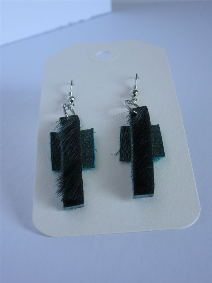Green Sealskin & Fish Leather Earrings