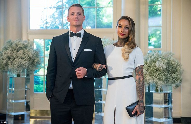 New to the White House? House of Cards star Joel Kinnaman - who is Swedish - and his tattoo artist wife Cleo Wattenstrom were at the dinner on Friday