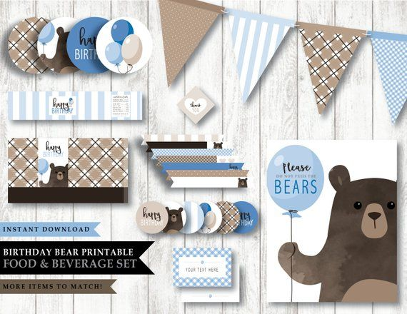 Bear Baby Bear Green Theme Printable Birthday Party Etsy Bear Party Party Packages Custom Party