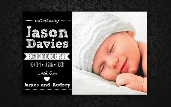 Baby Announcement by LadyJaneDesign on Etsy