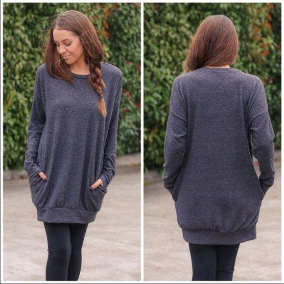 Perfect Sweatshirt Style Tunic Top in Charcoal Gray