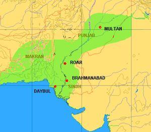 Muhammad bin Qasim - Extent and expansion of Umayyad rule under Muhammad bin Qasim in medieval India (modern state boundaries shown in red).