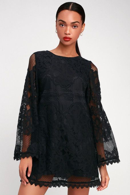 37b640fbbf2 Can t Forget You Black Lace Bell Sleeve Shift Dress in 2019 ...